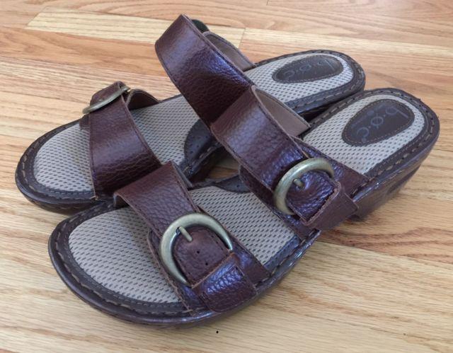 fa72f9013e5f BOC BORN 10 M Slide Sandals Bensi Brown Wedge Double Buckle Shoes Women  C52106