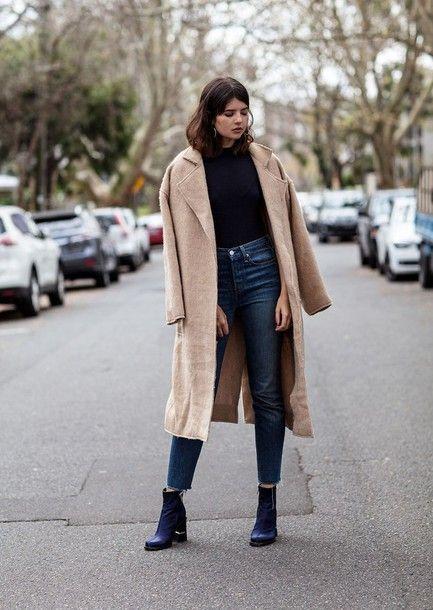 dcc7795200 Coat  tumblr camel camel camel long long sweater black sweater jeans denim  blue jeans boots ankle