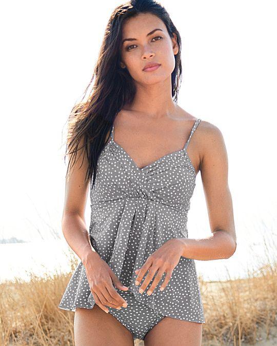 8a23d59301089 Garnet Hill Retro Ruched-Overlay One-Piece Swimsuit | Summer Wear ...