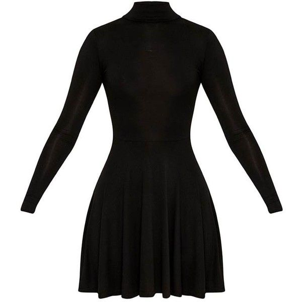 Basic Black High Neck Jersey Skater Dress (68 BRL) ❤ liked on Polyvore featuring dresses, jersey knit dresses, high neck skater dress, high neckline dress, skater dress and high neck dress