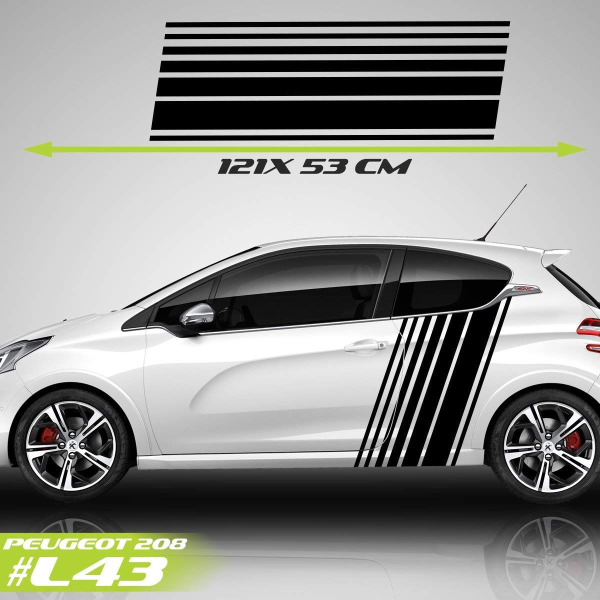 Peugeot 208 Sport Racing Stripes Logo Stickers Decal Car Stickers