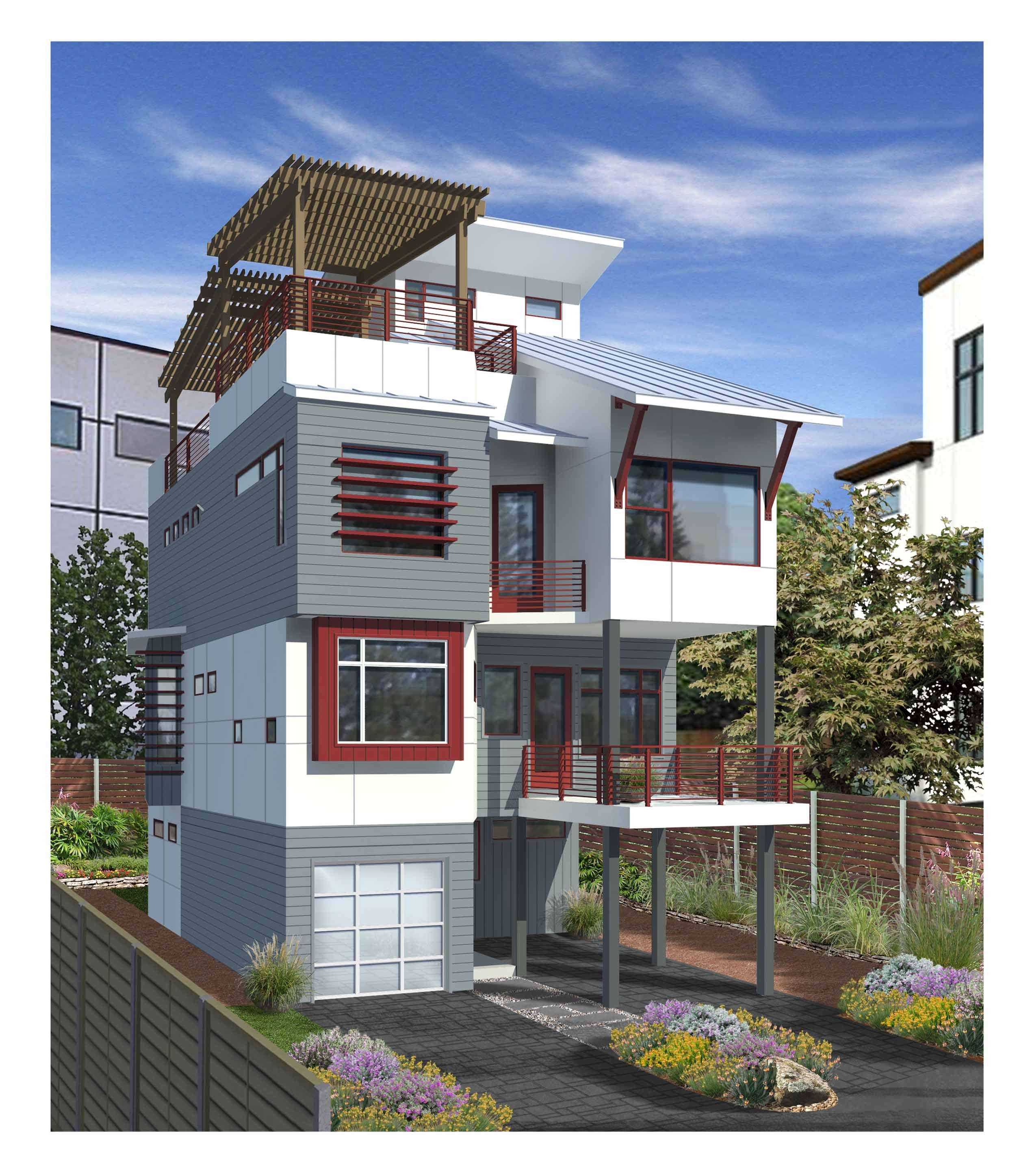 This Four Story Contemporary Townhouse Features And Expansive Roof Terrace And Garden Design Tech Homes Custom Home Builders Home Builders