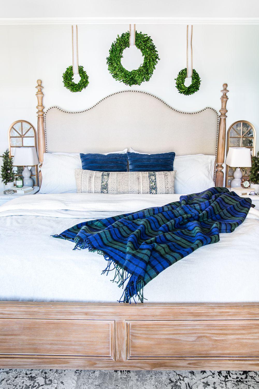 Blue & Neutral Christmas Bedroom