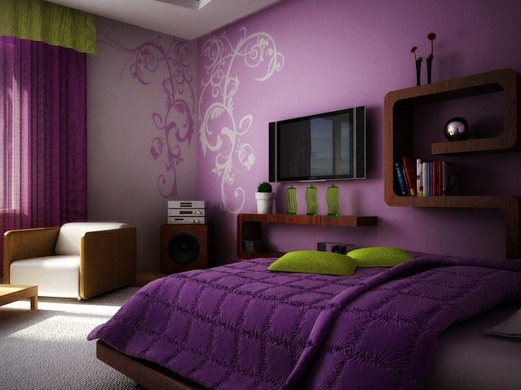couleur-chambre-mauve-violet-accents-verts-meuble-bois.jpg (750×562 ...