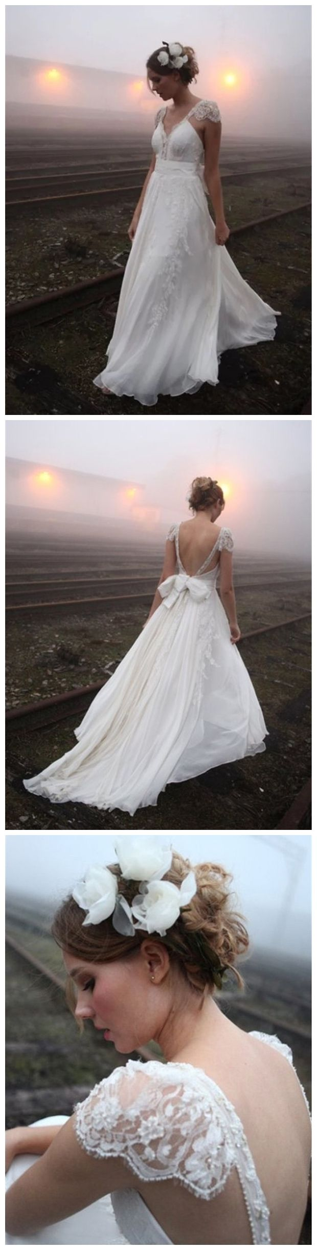 Cap sleeve country wedding dresses backless ivory beach wedding