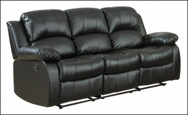 Classic Oversize And Overstuffed 3 Seat Bonded Leather Double Recliner Sofa,  Black