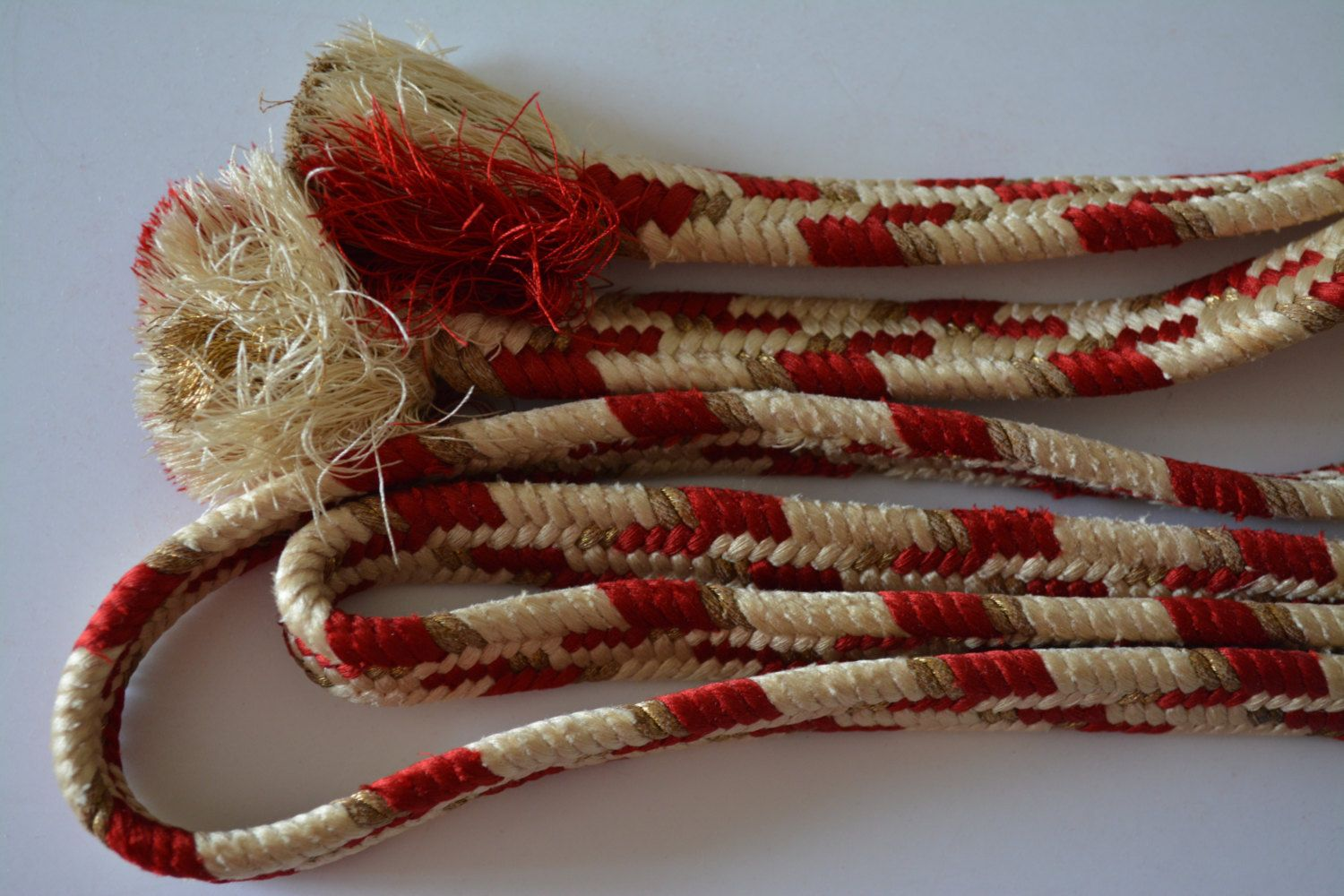 Obi-jime silk kimono cord, red, cream and gold, vintage Japanese, boxed by StyledinJapan on Etsy