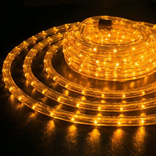 Wyzworks 25 Feet 12 Thick Orange Preassembled Led Rope Lights With 10 50 100 150 Option Christmas Holiday Decoration Ligh Led Rope Lights Led Rope Rope Lights