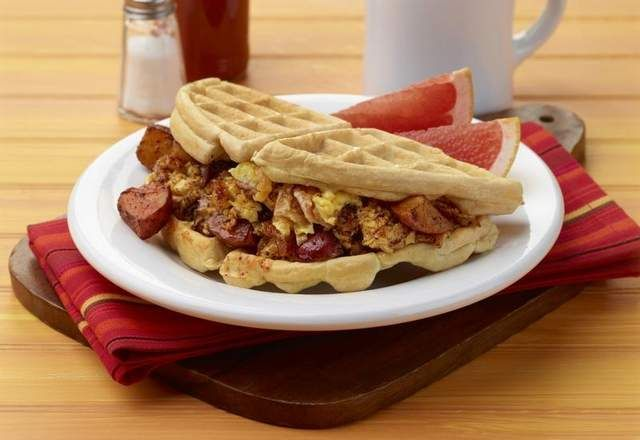 Waffle breakfast taco recipe from the truck food cookbook by john forumfinder Choice Image