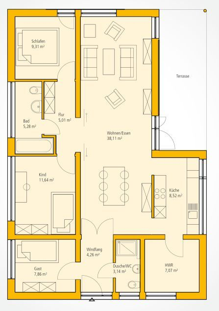 Grundriss moderner Bungalow Haus grundriss, Moderner