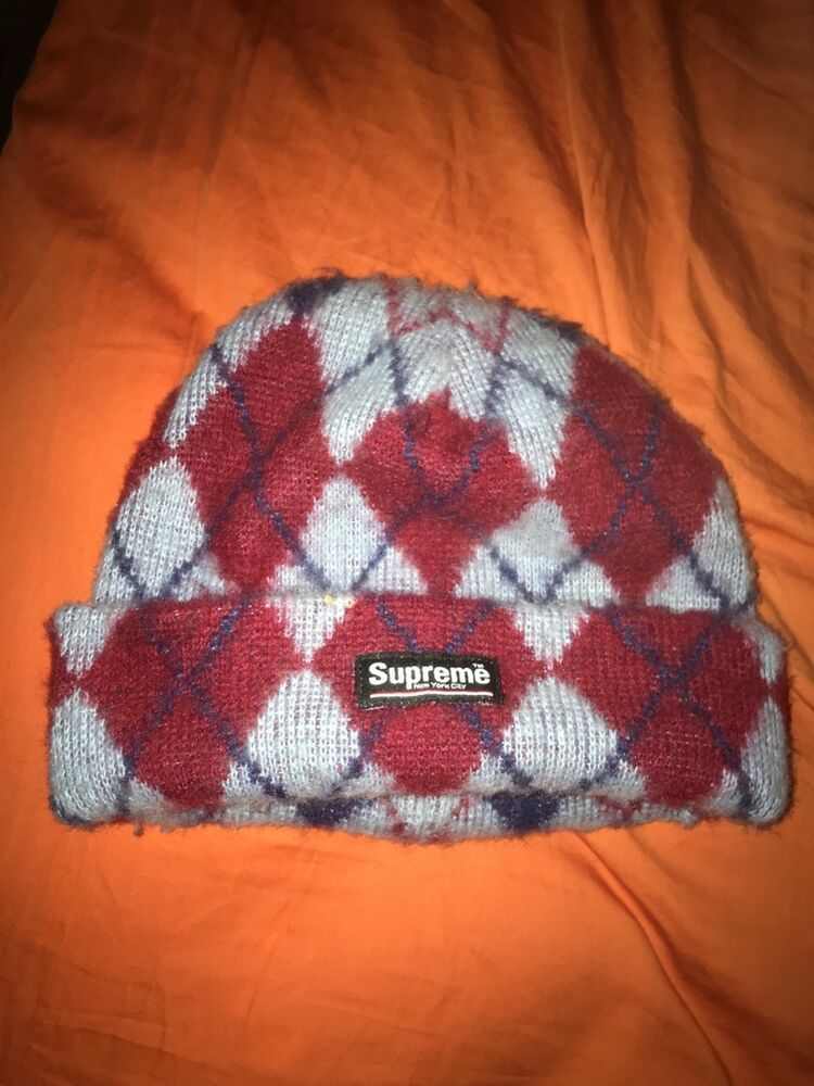 3402811603a supreme beanie red and blue diamond pattern  fashion  clothing  shoes   accessories  mensaccessories  hats (ebay link)