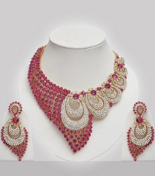 Pink White Stones Studded Wedding Jewellery Set Black Gold
