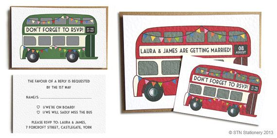 vintage bus wedding invitation london bus wedding bus red bus