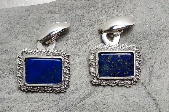 Gemelli fatti in argento 925 e lapislazzuli. Pezzi unici, gioielli siciliani senza meccanismo fatti in modo tradizionale per durare una vita