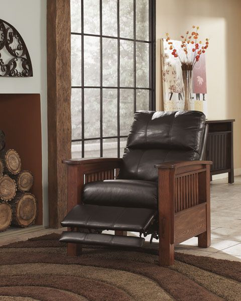 The Santa Fe Oak Arm Press Back Recliner Is A Beautiful Mission Style Recliner From Ashley S Signature D High Leg Recliner Ashley Furniture Mattress Furniture