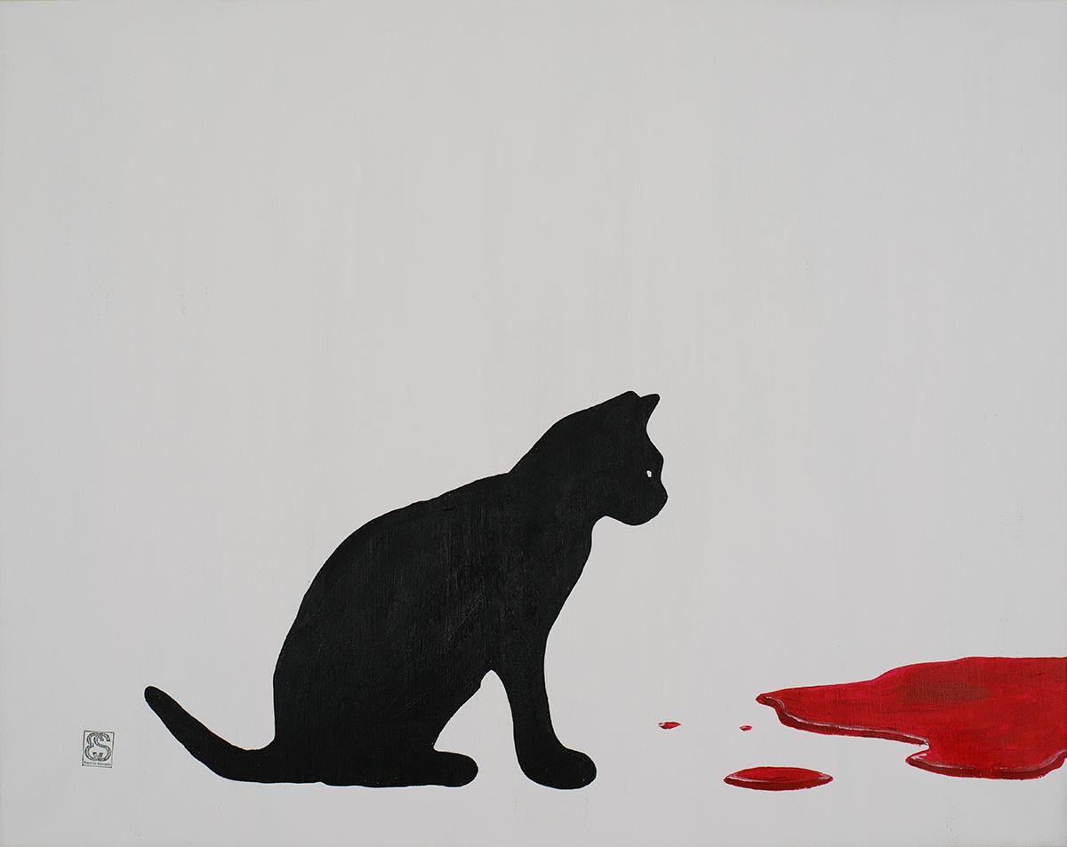 """""""Gato testigo"""" Acrílico 92 x 73 cm 115 €"""