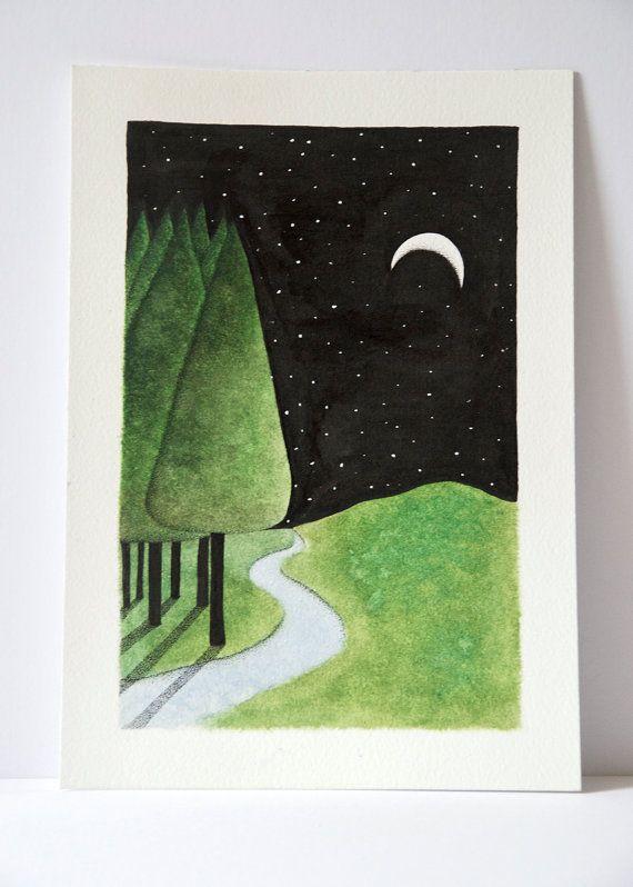 ORIGINAL Forest art, nature painting, landscape painting, forest ...