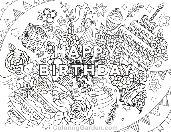 free printable happy birthday adult coloring page download it in pdf format at http - Birthday Coloring Sheets