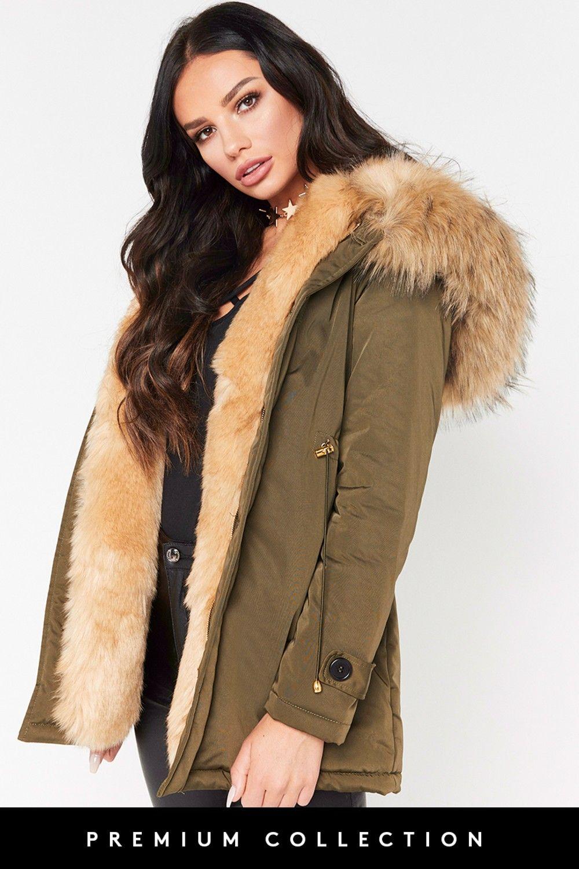 Ashleigh Beige Faux Fur Khaki Parka Coat | Khaki parka, Parker ...