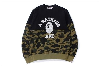 8a5d98b4 A Bathing Ape Men 1st Camo College Crewneck is online sale from Japan to  worldwide.