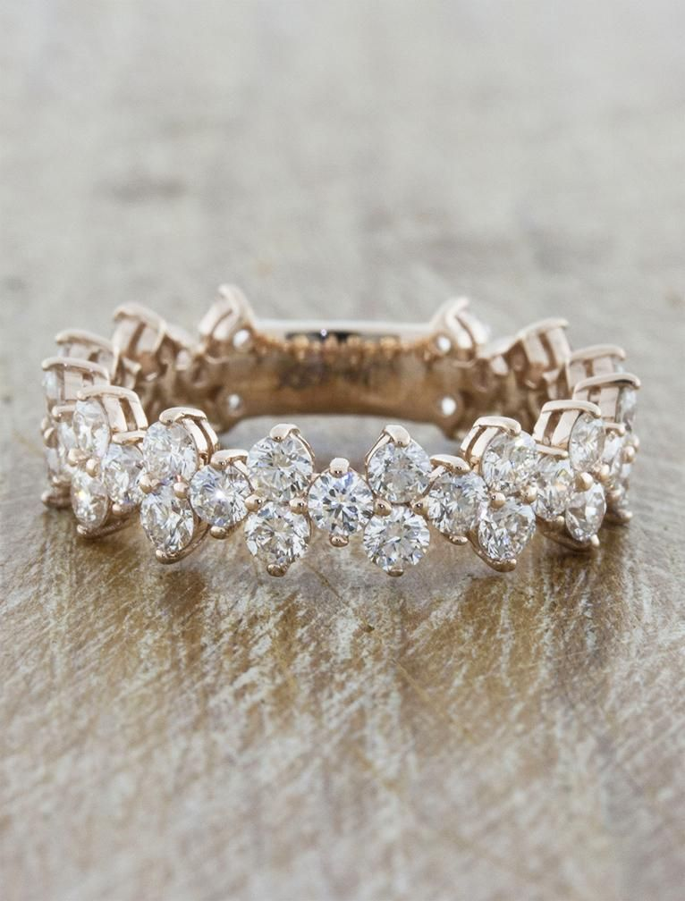 Ava showcases an intricate floral and vintage inspired design set with 3.00 tcw white lab grown diamonds that run all the way around a platinum band. #weddingdiamondring