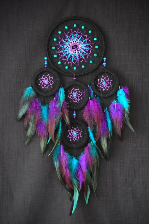 Galaxy Dream Catcher Nursery Dreamcatcher Blue and Violet Dream Catchers Feathers Wall Hangings Baby Shower Gift Black Friday sale #dreamcatchers