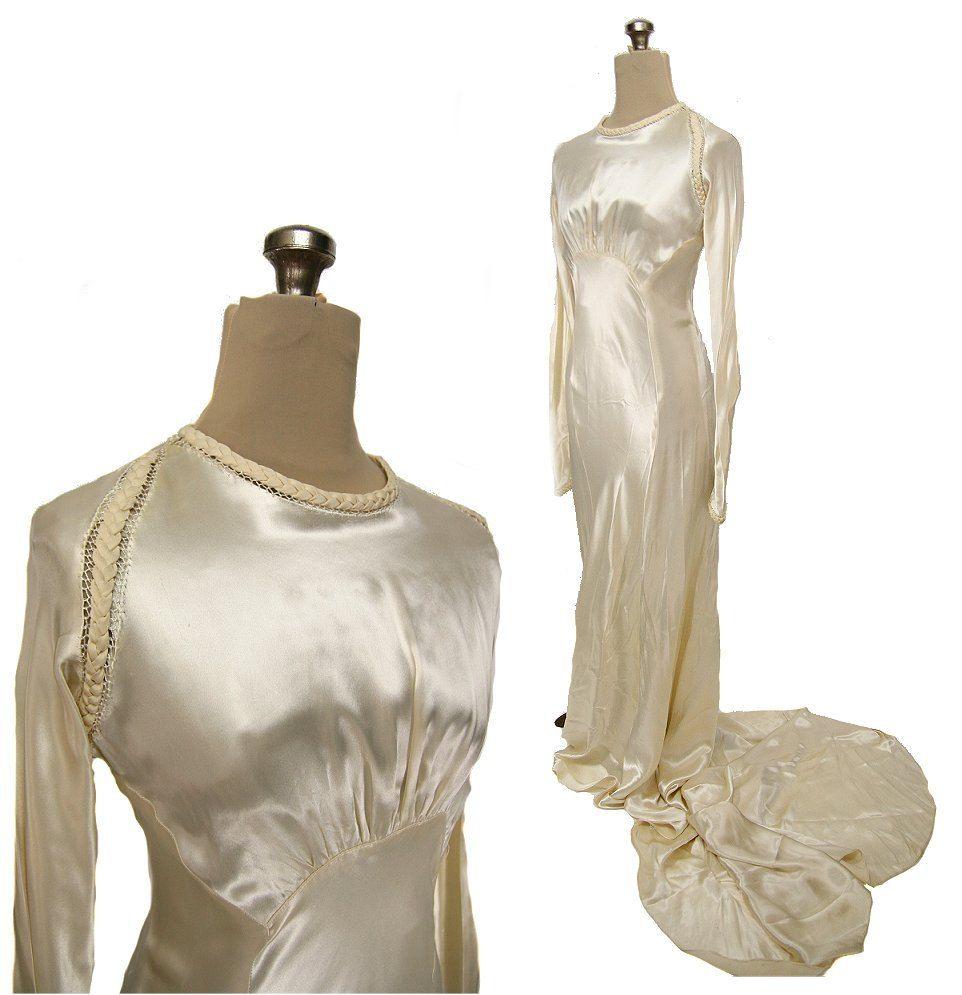 Vintage 1930s Bias Satin Wedding Dress, Long Sleeves, Ivory S / M ...