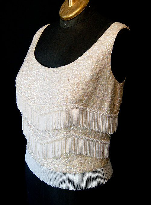 d171c65240c0d Sexy 1960 s go go white iridescent sequin shell top by wearitagain ...