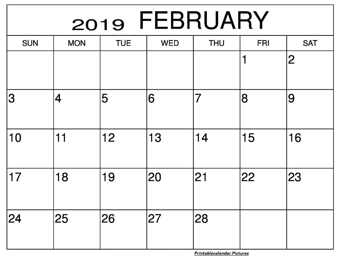 Free Monthly Calendar February Printable Template