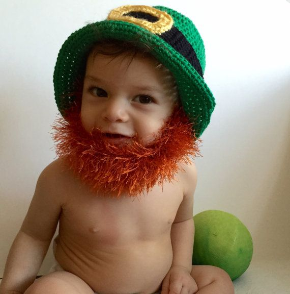 1e1ab152c Handmade Crochet Beard hat, leprechaun beard beanie. St. Patric day ...