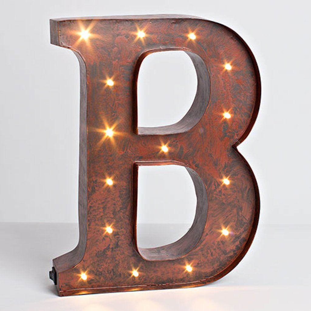 "Lighted Metal Initials 12""  Rustic Brown  Metal  Battery Operated  Led  Lighted"