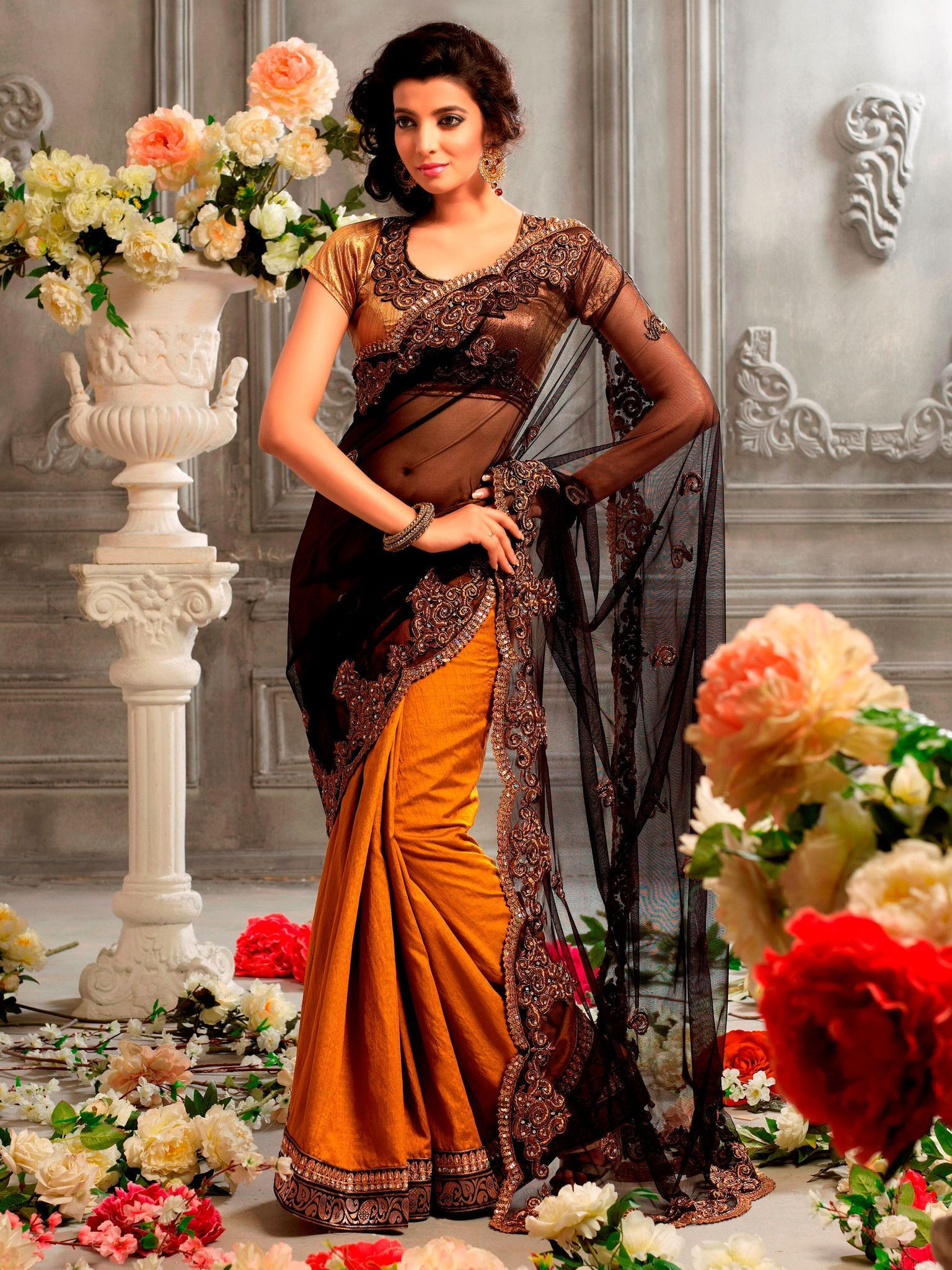 Black and Orange Heavy Designer Saree  Products  Pinterest  Products