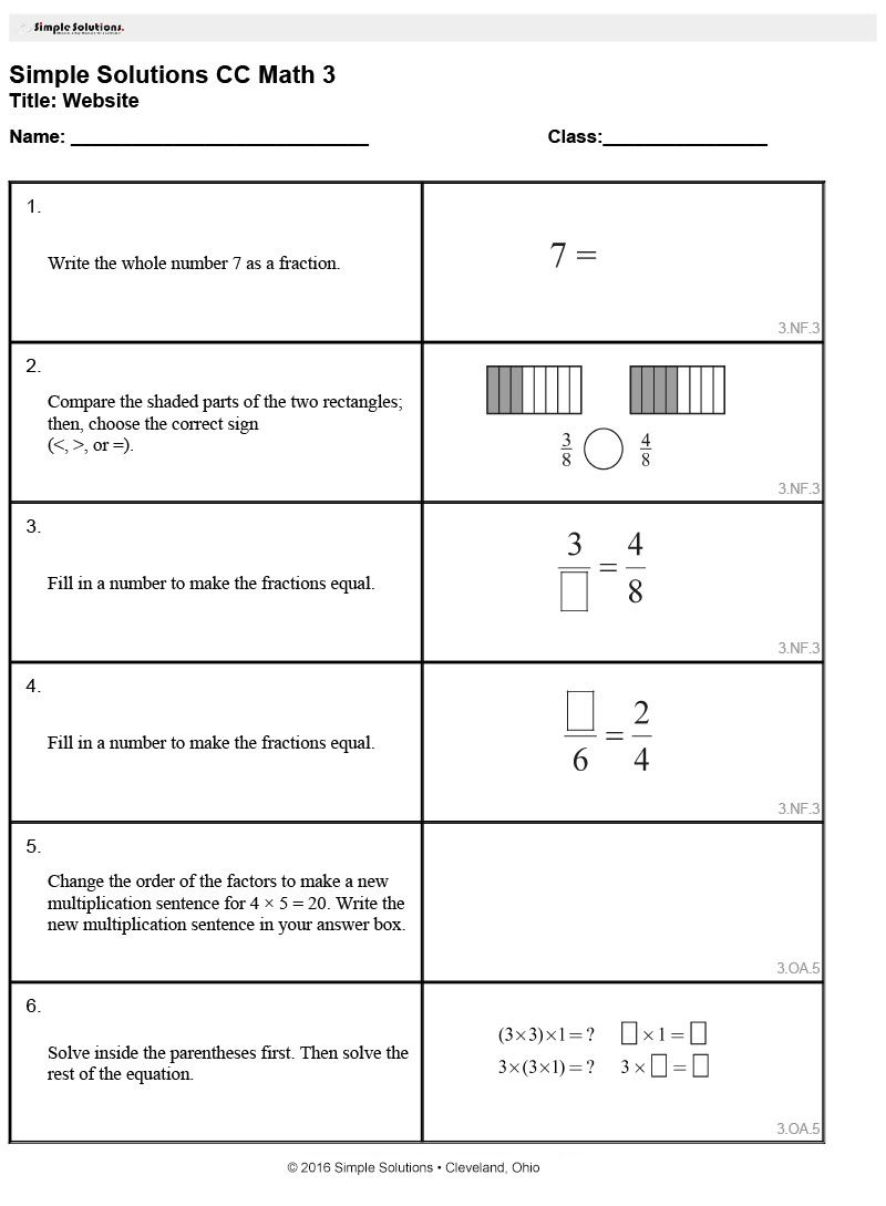 Try out our Common Core Worksheet Generator! This is a 3rd Grade ...