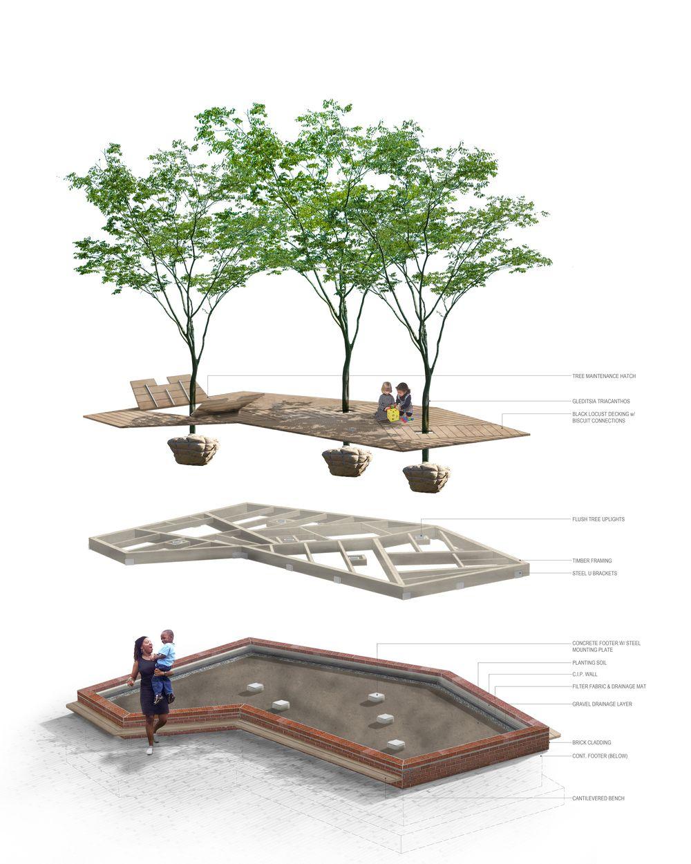 Pocket park terrain nyc archipelago courtyard is a for Mobiliario urbano contemporaneo
