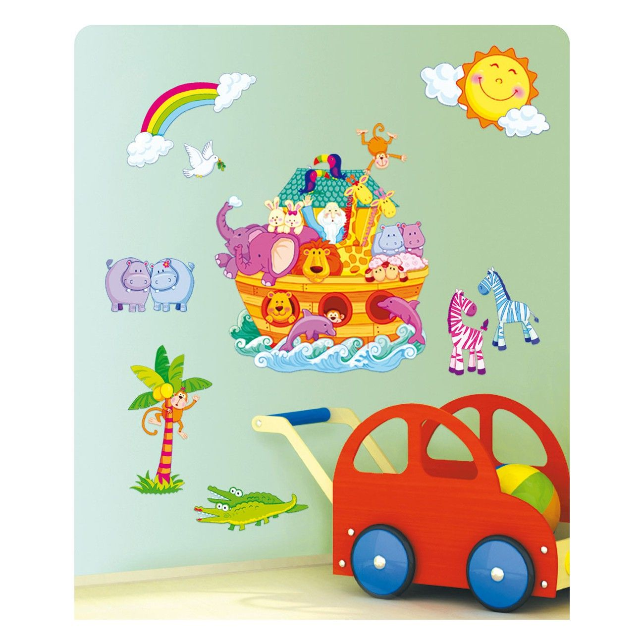 Dieses dekosticker set arche noah ist eine bunte augenweide f rs kinderzimmer geschenkideen - Baby jungenzimmer ...