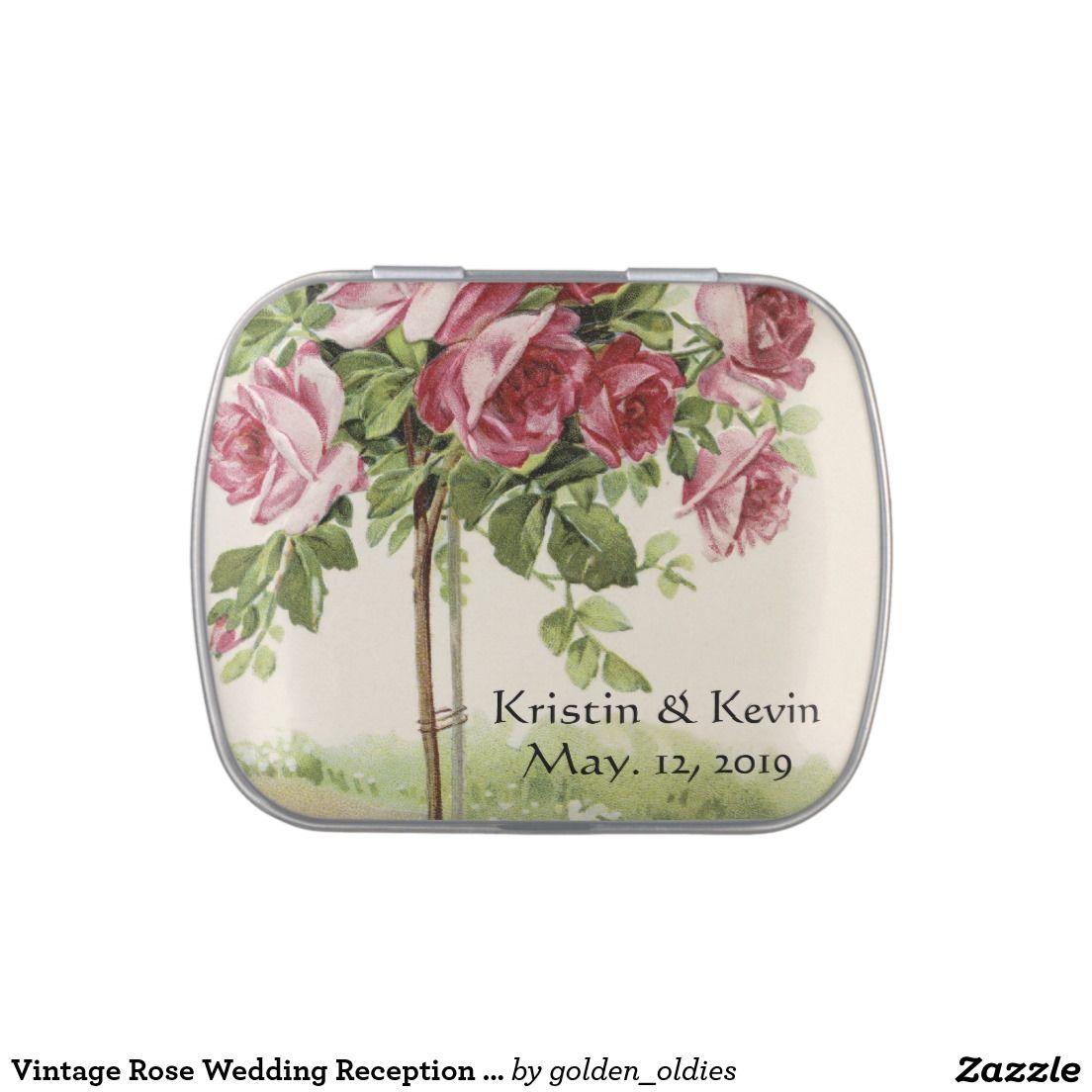 Vintage Rose Wedding Reception Favors Candy Tins | Wedding : Candy ...