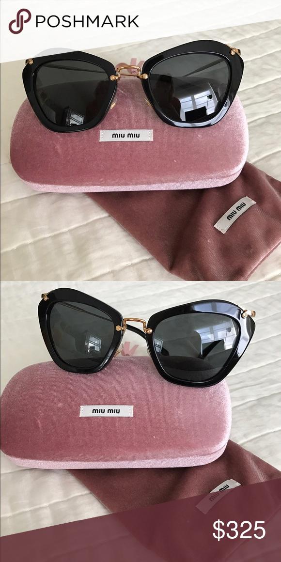 2bbb65d2d5e Miu Miu cat-eye Acetate Sunglasses Miu Miu authentic sunglasses. Black with  gold.