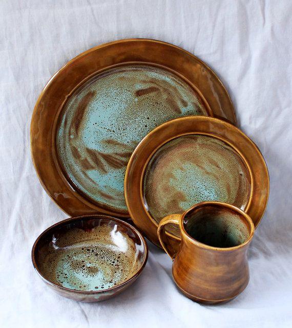 Art Deco Dinnerware Set- Handmade Stoneware Pottery Dinnerware- Sea Foam Green Spotted Plates and Bowl- Wedding Registry & Art Deco Dinnerware Set- Handmade Stoneware Pottery Dinnerware- Sea ...
