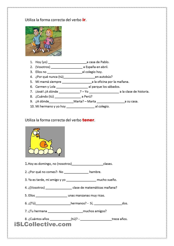 verbos ir y tener | LENGUA | Pinterest | Spanisch, Spanisch ...