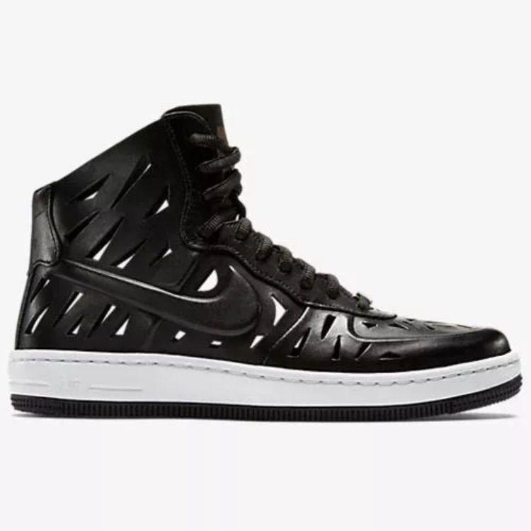 sale retailer 9d98f fbbee Nike Af1 Laser Cut Black Sneakers Leather Hi Top