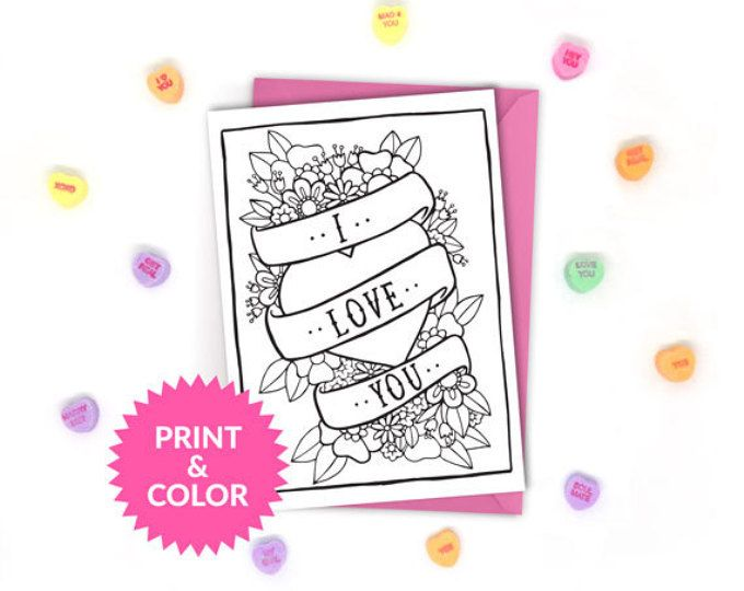 Super cute printable coloring cards and coloring pages! Perfect for ...