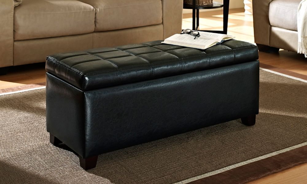 14 Inch X 16 5 Inch X 36 Inch Faux Leather Ottoman In Black Large Ottoman Coffee Table Leather Ottoman Coffee Table Ottoman