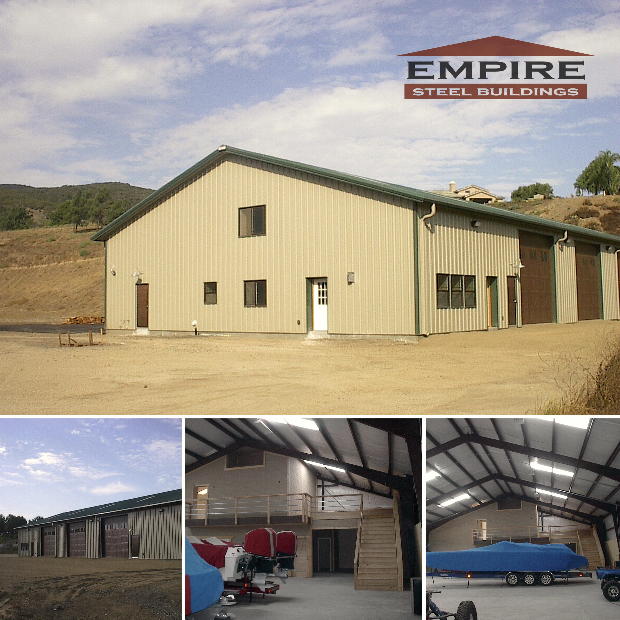 Empire Steel Building 50x100 In California With Custom Doors And Living Space Inside The Building Steel Buildings Custom Door Building