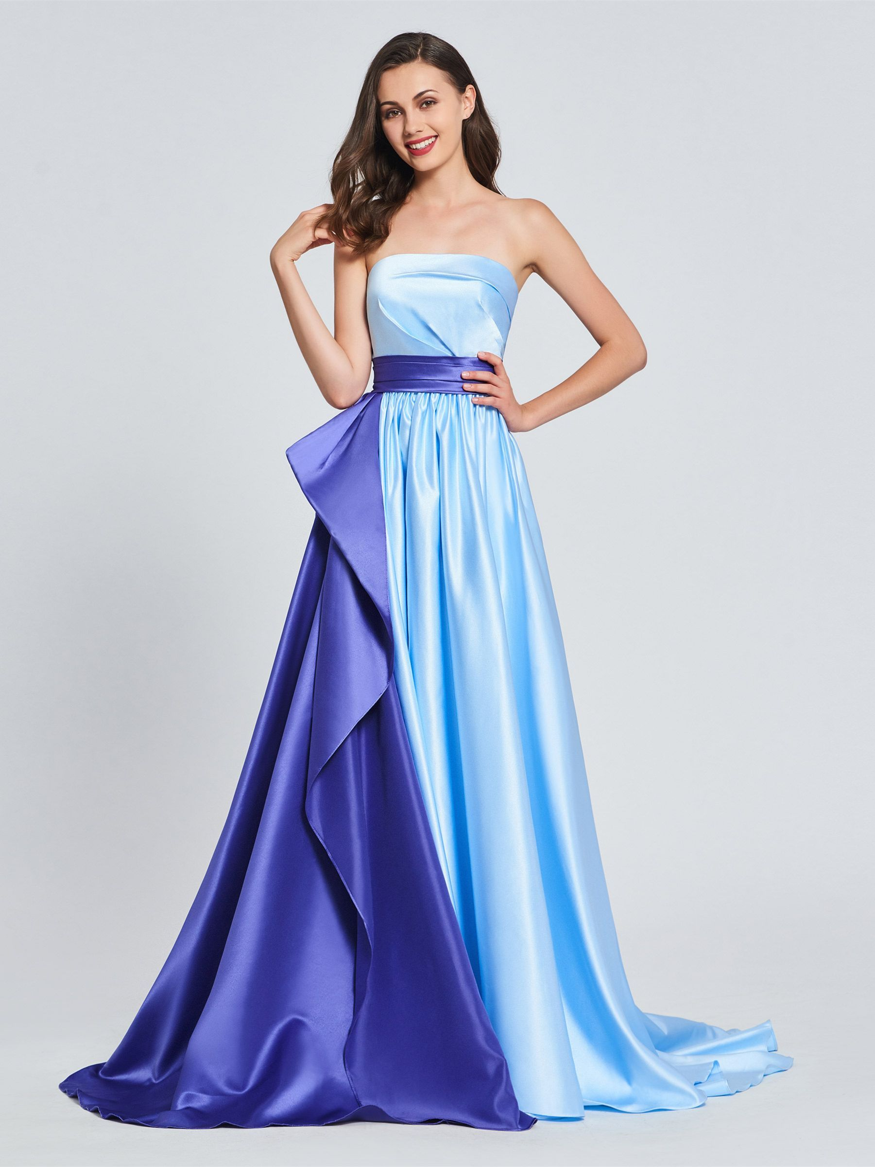 A Line Strapless Ruffles Sashes Prom Dress Cheap Gowns Dresses Backless Prom Dresses [ 2400 x 1801 Pixel ]