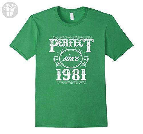 Mens Perfect Birthday T-Shirt For Men/Women Who Born In 1981 XL Grass - Birthday shirts (*Amazon Partner-Link)