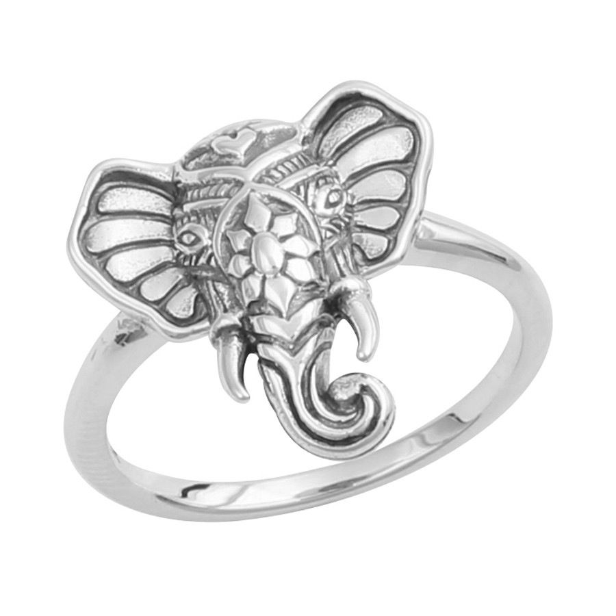 enugu elephant yaanai haathee engagement silver head airavata ring rings product