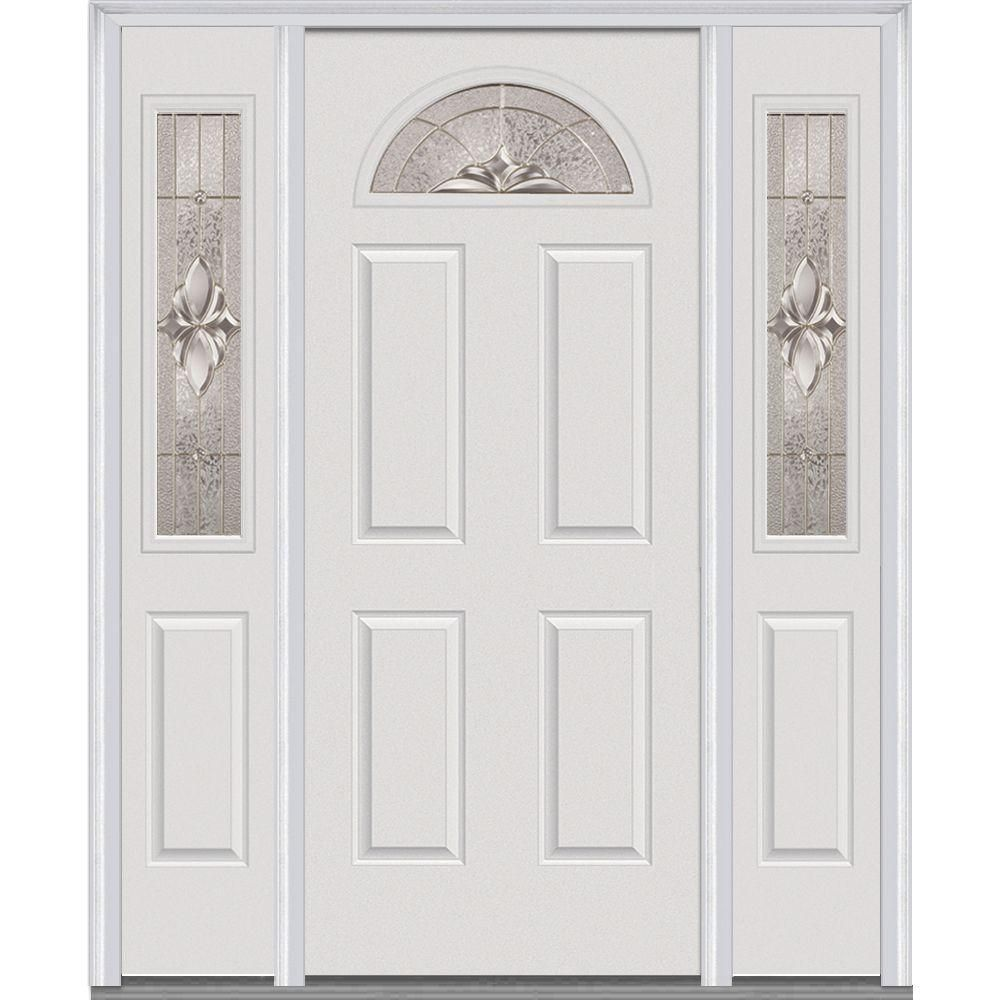 Mmi Door 68 5 In X 81 75 In Heirlooms Left Hand Inswing 1 4 Lite Decorative Painted Steel Prehung Front Door With Sidelites Z015162l The Home Depot Mmi Door Front Door Steel Doors Exterior