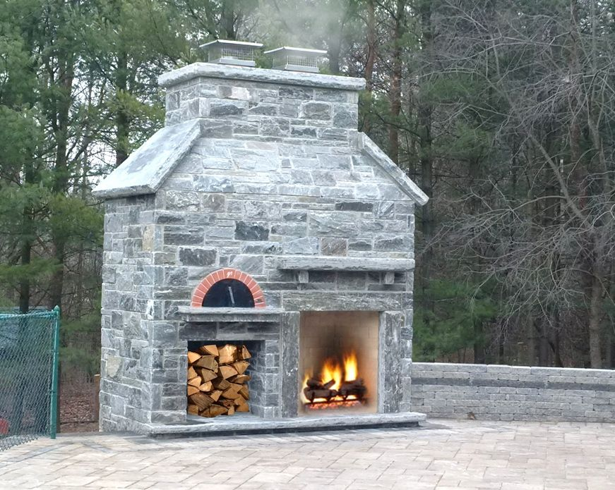 Marvelous Elite Blue Granite Outdoor Fireplace And Pizza Oven.