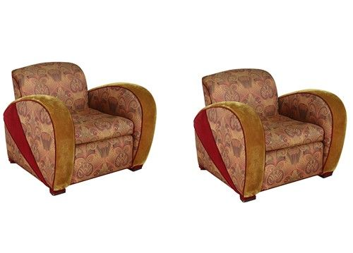 Pair of art deco style jazz club chairs, made in 1970's