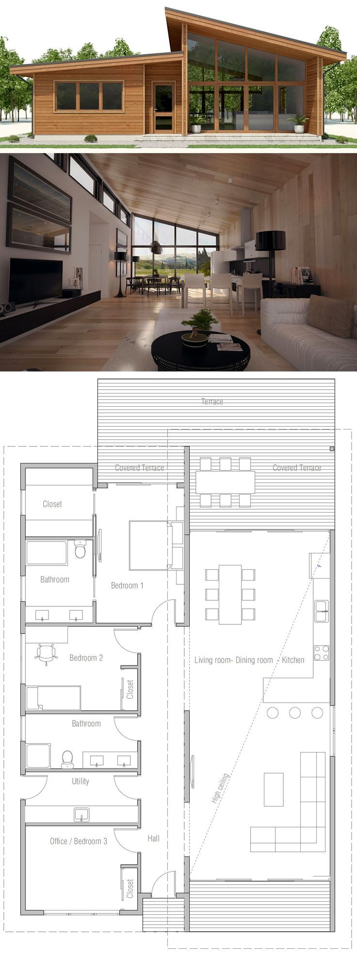 Small House Plan Floor plan with three